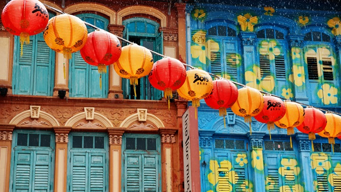 Chinatown lanterns and shophouses