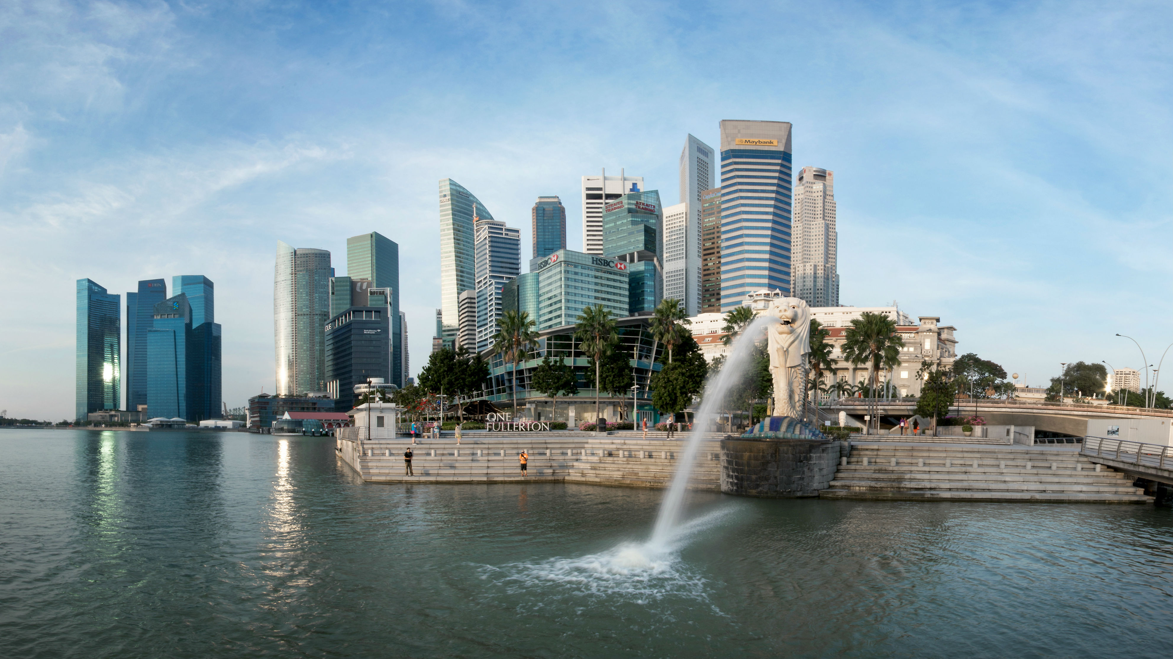 Merlion  Singapore Skyline in the Background in the Day Landscape View